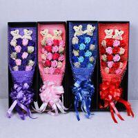 3色创意香皂花七夕新款结婚教师节鲜花玫瑰永生花束礼盒产地货源
