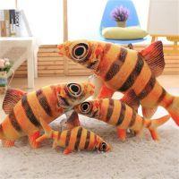 新款毛绒玩具仿真3D印刷大黄鱼小黄鱼公仔抱枕靠垫厂家定制