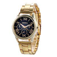 日内瓦三眼钢带手表女款 罗马刻度合金女士手表 欧美爆款批发