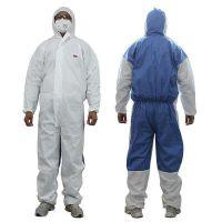 3M4535白色带帽连体防护服透气型颗粒物一次性防护服