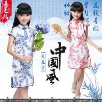 女童旗袍夏季小孩童装唐装民族风纯棉儿童旗袍连衣裙