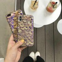 创意鱼鳞蓝光苹果X手机壳硅胶iphone8p全包7防摔软壳6s保护套女款