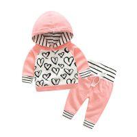 宝宝套装春秋款 女童爱心潮款休闲套装 儿童连帽卫衣一件代发