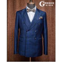 2018夏季新款精品男式西服套装定制 男士结婚礼服西装 双排两粒扣亚麻黑色西装成都西服