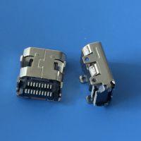 MICRO hdmi母座 板上四脚插板 带孔 前插后贴 19P/双排贴板SMT 19P音频插座