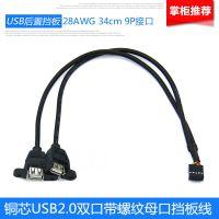 USB挡板线USB双口后置挡板线USB扩展挡板 双口USB线不带铁片