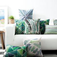 一件代发绿光水彩ins北欧简色棉麻抱枕腰枕汽车靠垫办公靠背沙发