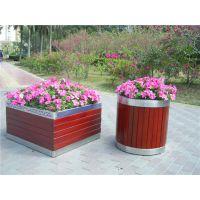 供应广州品兆 小区实木 防腐木组合花箱 不锈钢花钵