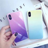 简约磨砂 手机壳iphonex渐变糖果色9H玻璃机壳6s创意全包i8硅胶套