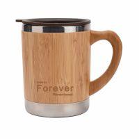 不锈钢咖啡杯带手柄双层保温竹子外壳马克杯带盖汽车办公定制现货