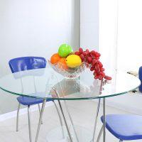 玻璃圆桌洽谈桌接待咖啡小桌子阳台钢化玻璃桌餐桌椅组合现代简约