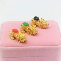 欧币金貔貅配件黄铜镀金实心貔貅越南沙金仿金DIY横穿饰品