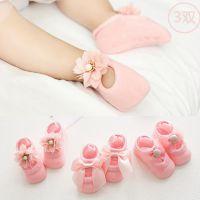 3双新生婴儿地板袜子女宝宝棉袜防滑无骨鞋袜夏薄款0-3-6-12个月