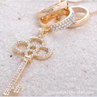 特价韩国时尚甜美双层高档微镶钻钥匙项链女 合金锁匙长项链