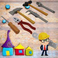 小孩创意仿真工具 男孩手动维修工具 益智过家家儿童6件套装玩具