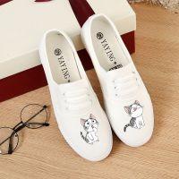 夏季平底白色一脚蹬女布鞋韩版女学生帆布鞋女休闲小白鞋懒人鞋女