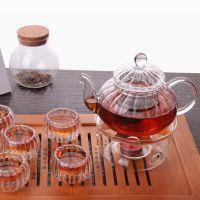 高硼硅耐热玻璃茶具茶壶花草茶壶 条纹壶 条纹南瓜壶 花茶壶600