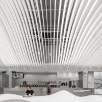 华高建材 定制外墙弧形铝方通 白色异形铝合金门头天花装饰材料