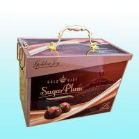 厂家供应手提蛋卷金属盒方形翻盖马口铁盒收纳铁盒
