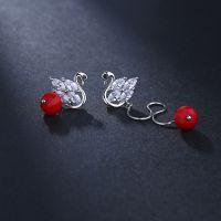 925银耳钉女 韩版时尚天鹅耳坠 不对称耳环饰品厂家直销一件代发