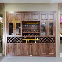 槽柱悬架屏门柜 玉林宽大多能酒柜 梧州实木装饰家具