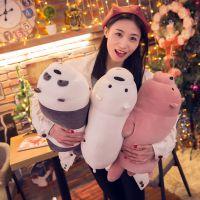 新款软体棕熊熊猫三只裸熊公仔创意卡通动漫玩具儿童玩偶布娃娃
