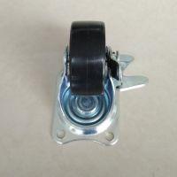 1.5寸黑PP万向脚轮带刹车 平板边刹万象轮 移动餐桌家具脚轮