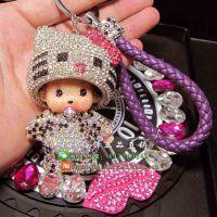 镶钻帽子蒙奇奇钥匙扣 新款hellokitty水钻创意女汽车钥匙扣挂件
