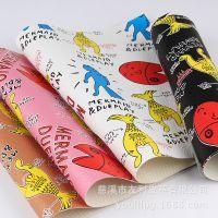 多样印花 卡通动物纹理箱包革 PVC装饰箱包革 厂家直供批发