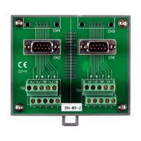 泓格带DIN导轨安装和两个9针插头的I/O接线块板DN-09-2
