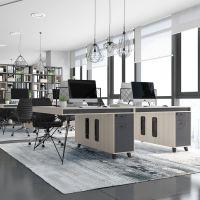 工业风办公桌简约现代桌椅组合2/4/6人位职员屏风工位办公家具