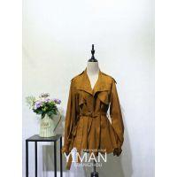 广州伊曼服饰品牌风衣女装外套走份批发,品牌尾货折扣