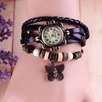 速卖通外贸 韩国复古手工蝴蝶吊坠女士欧美皮带手表批发 一件代发
