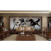 瓷砖背景墙大理石现代客厅电视背景墙中式3D微晶电视墙山河锦绣