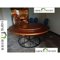 上海韩尔品牌 定制杭州美食楼HR-025餐桌椅 LOFT餐厅实木桌椅订做