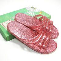 拖鞋夏季女水晶平跟拖鞋平底果冻拖鞋浴室防滑室内外亮片透明凉鞋