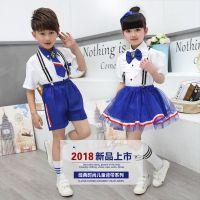 小学生校服夏季 2018儿童学院风两件套幼儿园校服 时尚小学生班服