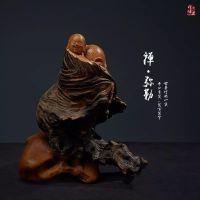 太行崖柏弥勒笑佛,弥勒崖柏木雕像