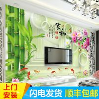 3立体电视背景墙壁纸中式客厅卧室无纺布墙纸影视墙无缝墙布壁画