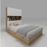 储物高箱床立柜榻榻米床柜组合 现代简约1.5米双人床板式衣柜定制
