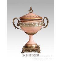 欧式陶瓷配铜工艺品简约家居装饰摆件客厅书房配铜家具家饰系列