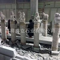 供应十二生肖仿古石柱子 花岗岩动物柱子 栓马桩石雕柱子
