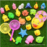 搪胶洗澡鸭子玩具 出口PVC塑胶玩具公仔 儿童节礼物