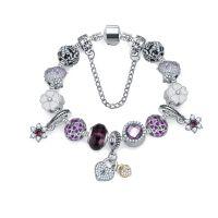 外贸爆款创意潘家琉璃珠水晶手链 爱心手饰花朵隔饰品 跨境货源