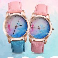 热卖 时尚OKTIME小清新可爱手表粉蓝渐变色休闲手表潮女表