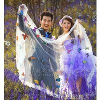 旅拍外景写真拍摄婚纱摄影道具女生写真蕾丝花边长头纱蝴蝶头纱