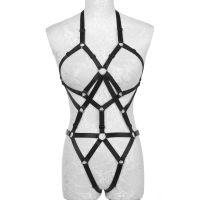 138K 欧美情趣内衣性感镂空绑带透明制服诱惑线束露乳套装新款