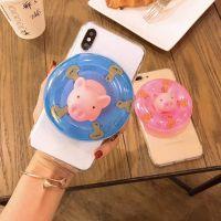 创意游泳圈小猪iPhone7plus手机壳苹果6S亚克力透明TPU保护套现货