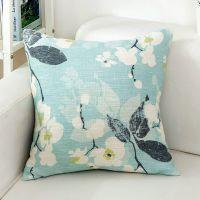 田园风清新棉麻布艺沙发抱枕正方形靠垫客厅靠枕套不含芯家用粉色