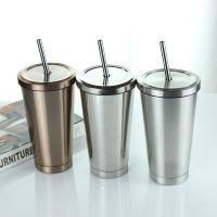 500ml不锈钢咖啡吸管杯直身户外保温杯子广告礼品促销杯定制logo